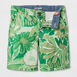 NWOT Boys Green Tropical Chino Shorts Size 8